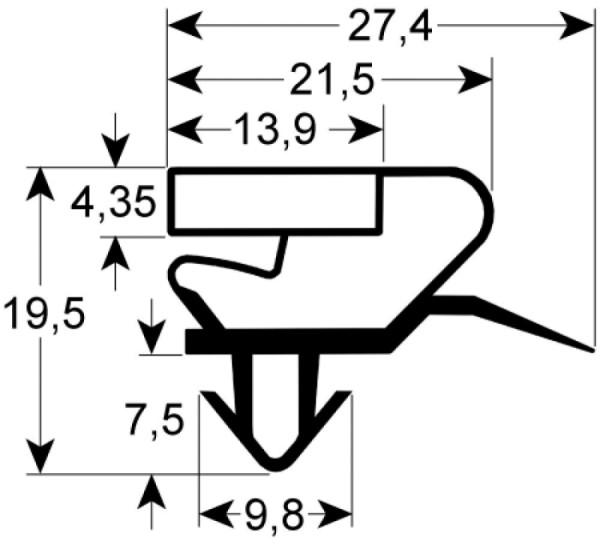 Kältedichtung Profil 9398 L 2500mm Steckmaß